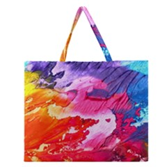 Abstract Art Background Paint Zipper Large Tote Bag