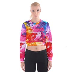 Abstract Art Background Paint Cropped Sweatshirt