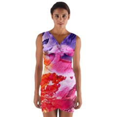 Abstract Art Background Paint Wrap Front Bodycon Dress