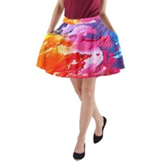 Abstract Art Background Paint A Line Pocket Skirt