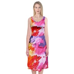 Abstract Art Background Paint Midi Sleeveless Dress