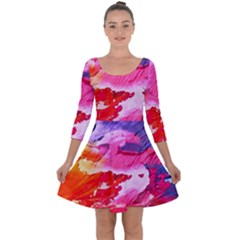 Abstract Art Background Paint Quarter Sleeve Skater Dress