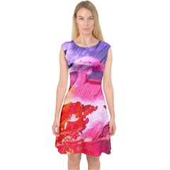 Abstract Art Background Paint Capsleeve Midi Dress