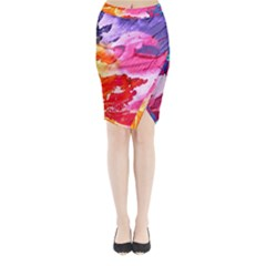 Abstract Art Background Paint Midi Wrap Pencil Skirt