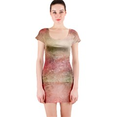 Background Art Abstract Watercolor Short Sleeve Bodycon Dress