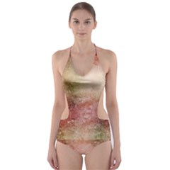 Background Art Abstract Watercolor Cut Out One Piece Swimsuit