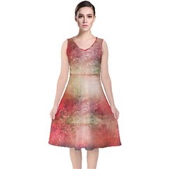 Background Art Abstract Watercolor V Neck Midi Sleeveless Dress