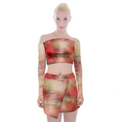 Background Art Abstract Watercolor Off Shoulder Top With Mini Skirt Set