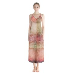 Background Art Abstract Watercolor Button Up Chiffon Maxi Dress