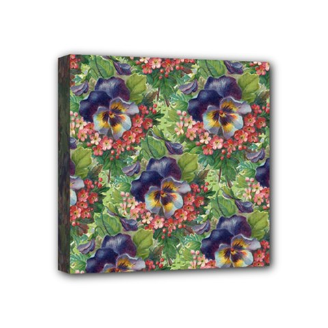 Background Square Flower Vintage Mini Canvas 4  X 4