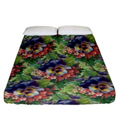 Background Square Flower Vintage Fitted Sheet (california King Size)