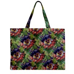 Background Square Flower Vintage Zipper Mini Tote Bag by Nexatart