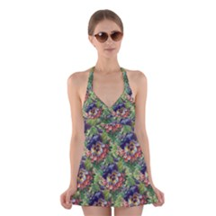 Background Square Flower Vintage Halter Dress Swimsuit