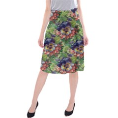 Background Square Flower Vintage Midi Beach Skirt