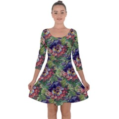 Background Square Flower Vintage Quarter Sleeve Skater Dress