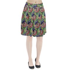 Background Square Flower Vintage Pleated Skirt