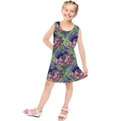 Background Square Flower Vintage Kids  Tunic Dress