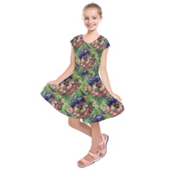 Background Square Flower Vintage Kids  Short Sleeve Dress