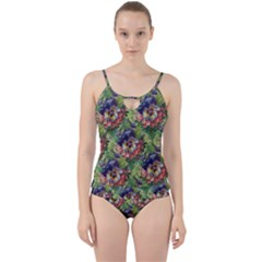 Background Square Flower Vintage Cut Out Top Tankini Set