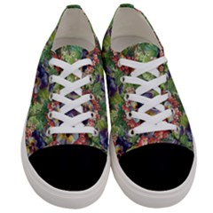Background Square Flower Vintage Women s Low Top Canvas Sneakers
