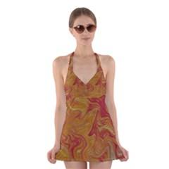 Texture Pattern Abstract Art Halter Dress Swimsuit