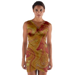 Texture Pattern Abstract Art Wrap Front Bodycon Dress
