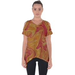 Texture Pattern Abstract Art Cut Out Side Drop Tee