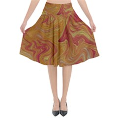 Texture Pattern Abstract Art Flared Midi Skirt