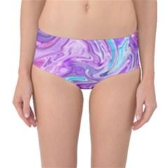 Abstract Art Texture Form Pattern Mid Waist Bikini Bottoms