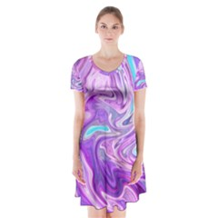 Abstract Art Texture Form Pattern Short Sleeve V Neck Flare Dress