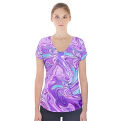 Abstract Art Texture Form Pattern Short Sleeve Front Detail Top