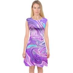 Abstract Art Texture Form Pattern Capsleeve Midi Dress