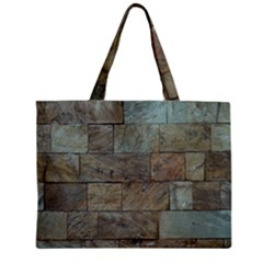 Wall Stone Granite Brick Solid Zipper Mini Tote Bag