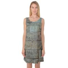 Wall Stone Granite Brick Solid Sleeveless Satin Nightdress