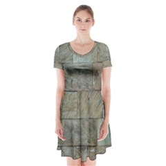 Wall Stone Granite Brick Solid Short Sleeve V Neck Flare Dress