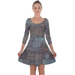 Wall Stone Granite Brick Solid Quarter Sleeve Skater Dress