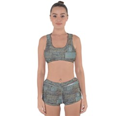 Wall Stone Granite Brick Solid Racerback Boyleg Bikini Set