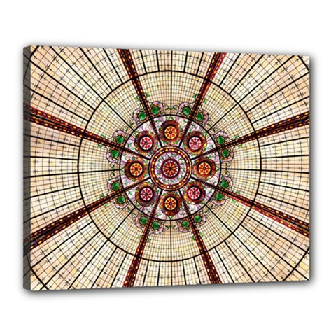 Pattern Round Abstract Geometric Canvas 20  X 16