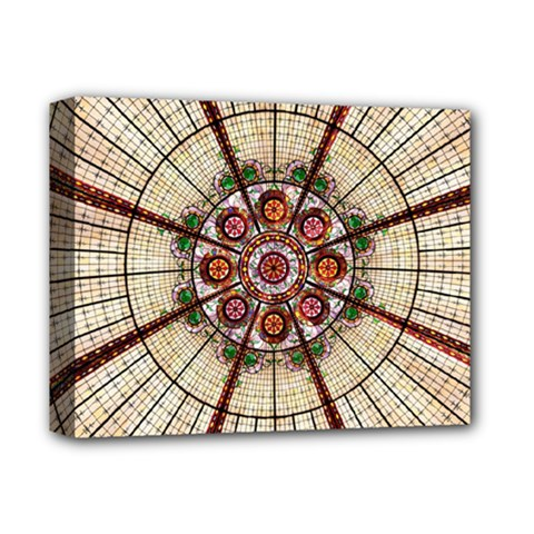 Pattern Round Abstract Geometric Deluxe Canvas 14  X 11