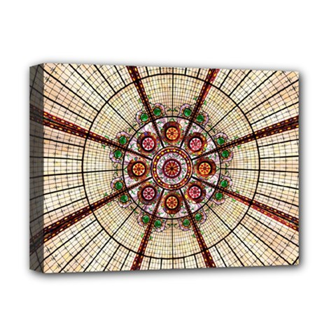 Pattern Round Abstract Geometric Deluxe Canvas 16  X 12