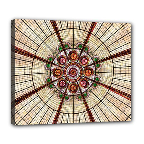 Pattern Round Abstract Geometric Deluxe Canvas 24  X 20