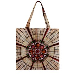 Pattern Round Abstract Geometric Zipper Grocery Tote Bag by Nexatart