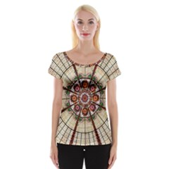 Pattern Round Abstract Geometric Cap Sleeve Tops