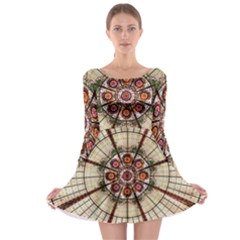 Pattern Round Abstract Geometric Long Sleeve Skater Dress