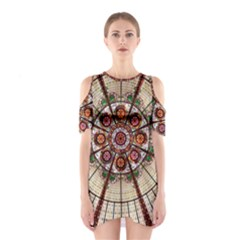 Pattern Round Abstract Geometric Shoulder Cutout One Piece