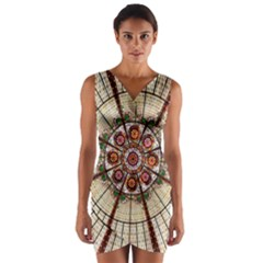 Pattern Round Abstract Geometric Wrap Front Bodycon Dress