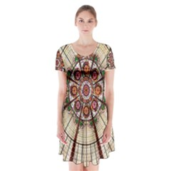 Pattern Round Abstract Geometric Short Sleeve V Neck Flare Dress