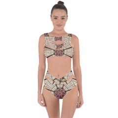 Pattern Round Abstract Geometric Bandaged Up Bikini Set