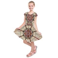Pattern Round Abstract Geometric Kids  Short Sleeve Dress