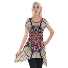 Pattern Round Abstract Geometric Short Sleeve Side Drop Tunic